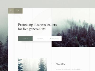 🌱 insurance nature serif elegant forest green homepage simple grid webdesign white space layout clean minimal landing page typography web ux ui website