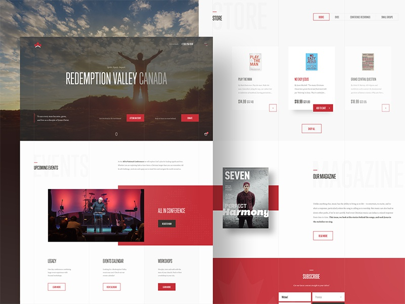 Redemption Valley ⛪️ homepage bold white space layout grid red website web ux ui clean typography