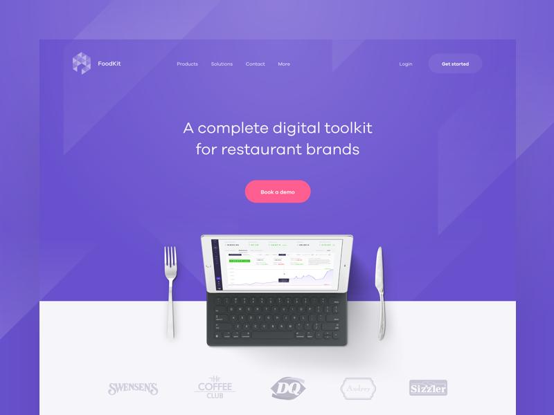 🍽 FK — homepage (WIP) typography dashboard application app product simple interface minimal hero header clean homepage landing page website web ux ui pink purple layout