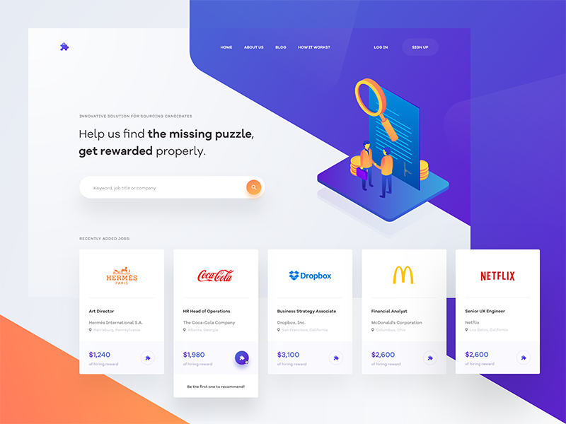 👨🏻‍💼🔍 typography website blue layout web clean ux ui tonik colorful shapes landing page homepage illustration isometric gradient orange purple hero header