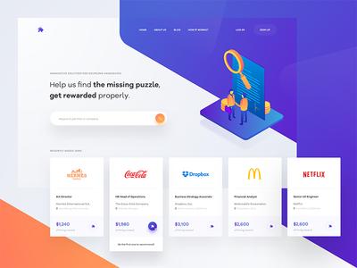 👨🏻💼🔍 typography website blue layout web clean ux ui tonik colorful shapes landing page homepage illustration isometric gradient orange purple hero header