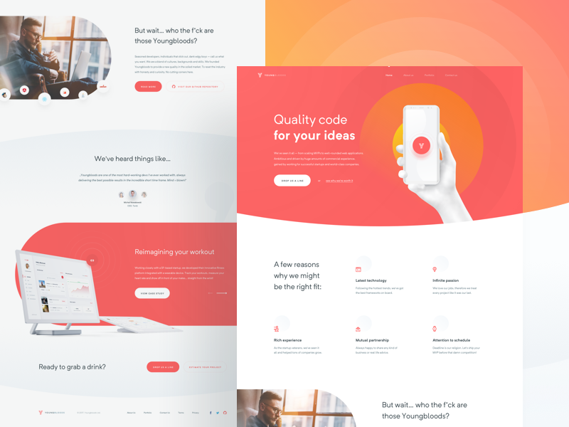 Youngbloods ☄ website web ux ui agency software house clean minimal layout red landing page homepage
