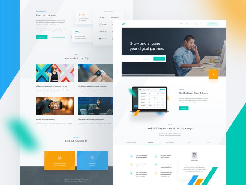 📊 Mediarails — homepage product startup blue orange green ux ui layout landing page website web clean