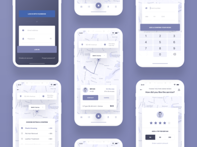 🛁 WOSH — wireframes rating cards layout typography product simple minimal clean application app interface ios map mobile ui ux wireframe navigation login iphone