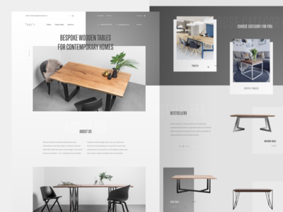 H. 🌿 wood furniture premium elegant serif condensed simple minimal products landing page monochromatic white space website web ux ui typography layout homepage clean