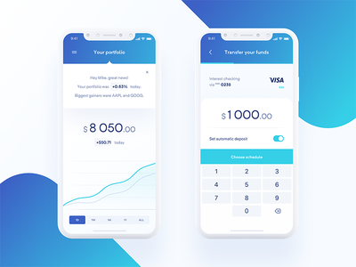 Hedge Fund App 💰 — Portfolio & Transfer simple product typography blue minimal layout clean tonik graph chart financial finance iphone x interface application ios ux ui mobile app
