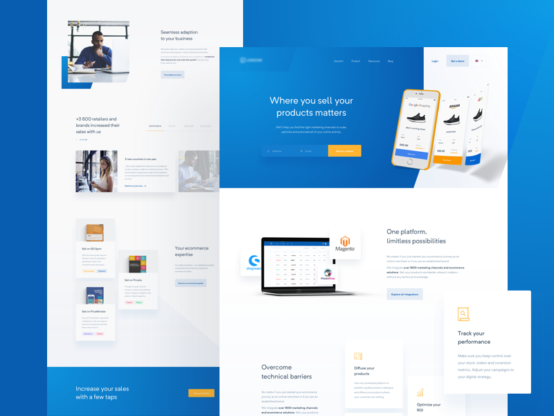💼 eCommerce Automation Platform — homepage minimal homepage website web product layout clean orange blue ecommerce saas landing page