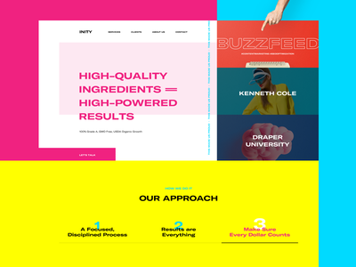 🤤🍭 original crazy wide weird homepage simple layout clean website web cmyk typography yellow pink landing page agency portfolio minimal ux ui