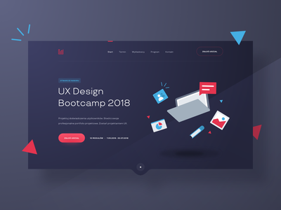 UX Bootcamp 👨🏼💻 masthead tag landing page website typography web simple minimal homepage layout landing clean blue red illustration gradient header hero ui ux