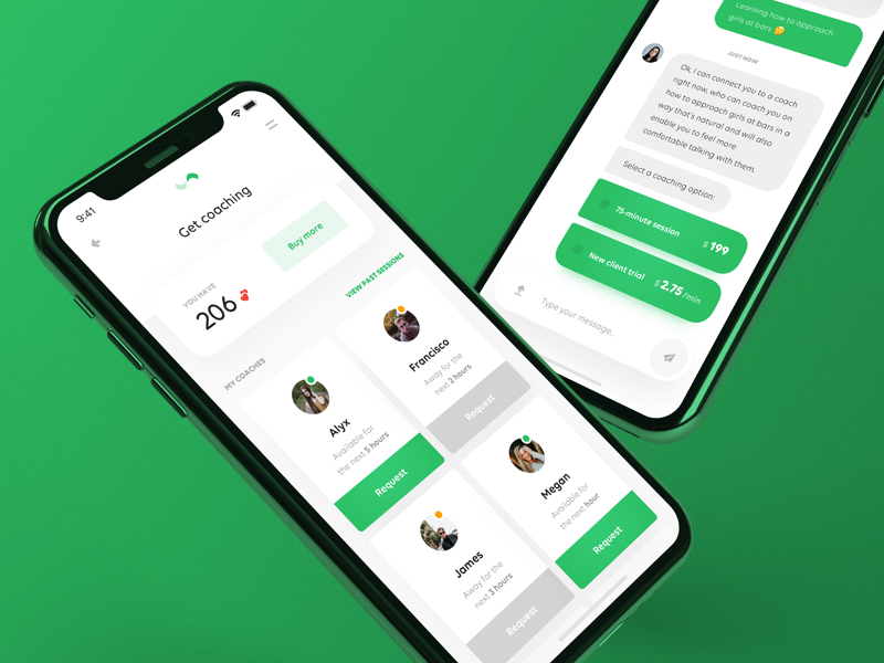Relationship Coaching App 💚 app application iphone x interface ios mobile ui ux chat dashboard cards green
