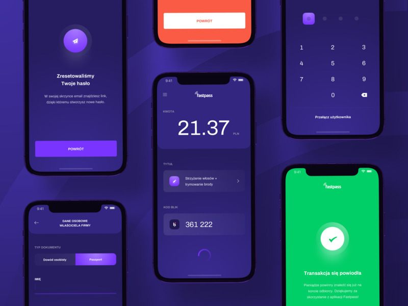 Fastpass App 💸 loading purple success keys product simple minimal clean financial iphone x ux ui interface mobile payment application app ios ecommerce fintech