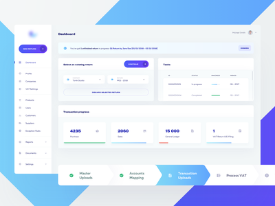 1V — Dashboard ⚙️ purple blue cards application product simple minimal layout process steps web ux ui interface finance dashboard data clean app analytics