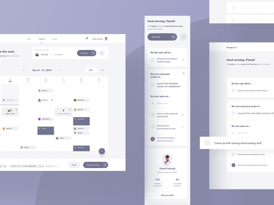 Focusmate — early explorations 🛠 list tasks todo cards events layout simple minimal mobile web interface application app calendar ux ui dashboard clean product wireframes