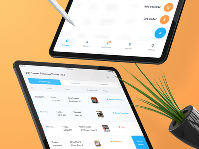 📦 Package iPad App — UI details orange blue user experience user interface product typography layout minimal simple clean ux ui ios interface fab navigation application app tablet ipad