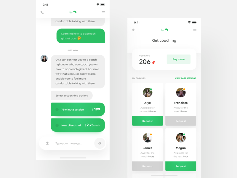 👼🏼 Relationship Coaching App — throwback typing messeges typography product layout minimal simple clean ux ui mobile iphone x ios interface green dashboard chat cards application app
