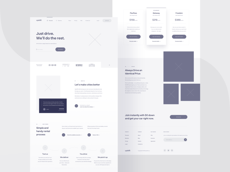 Upshift — wireframe 🌚 grid purple blue interface cards typography simple ui carsharing startup website web product minimal layout landing page homepage clean ux wireframe