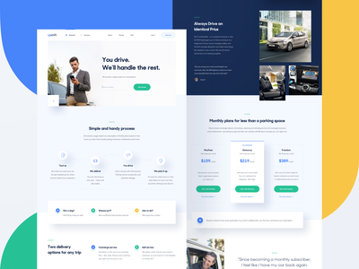 Upshift — homepage 🚙 interface yellow photography simple typography ux ui tonik carsharing startup website web product minimal layout landing page homepage clean green blue