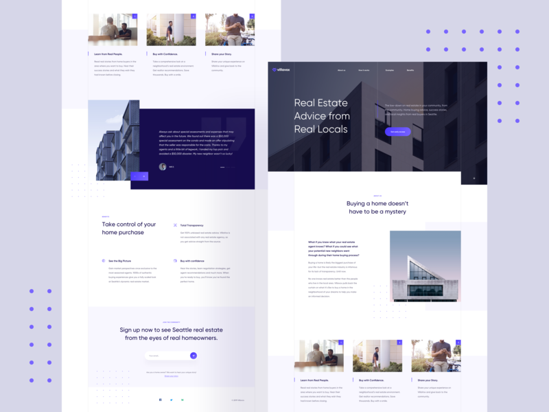 VillaVox 🏙 testimonial form cards product typography simple minimal widelab purple blue real estate gradient homepage layout landing page website web clean ux ui