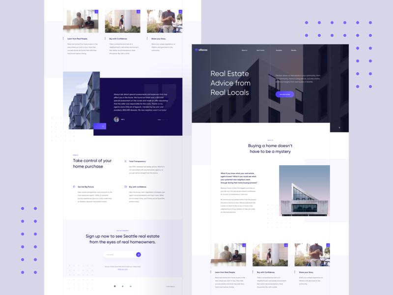 VillaVox 🏙 minimal purple blue real estate gradient homepage layout landing page website web clean ux ui