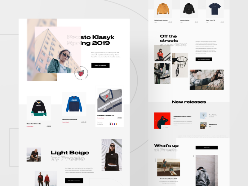 Prosto — initial explorations 💡 lookbook photography shop slider flat blog news typography minimal grid website web ux ui layout homepage clean fashion streetwear ecommerce