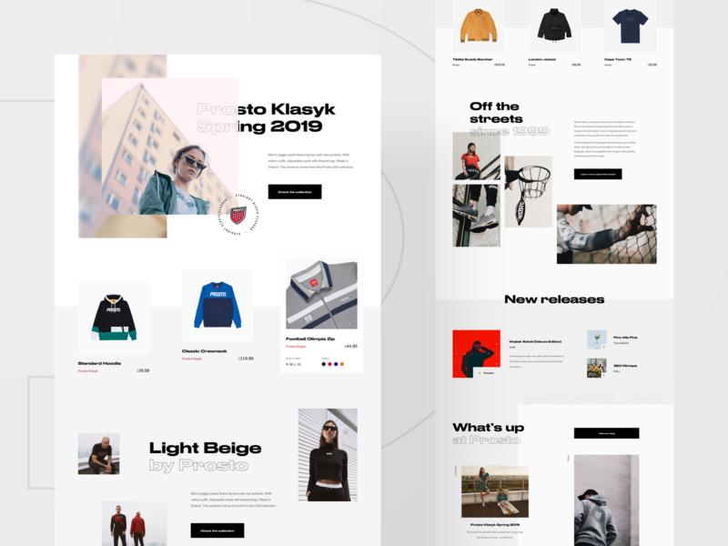 Prosto — initial explorations 💡 lookbook photography shop slider flat blog news typography minimal grid website web ux ui layout homepage clean fashion streetwear ecommerce
