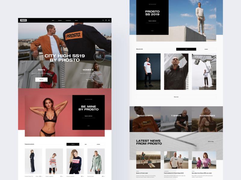Prosto 🦅 lookbook photography shop slider flat blog news typography minimal grid website web ux ui layout homepage clean fashion streetwear ecommerce