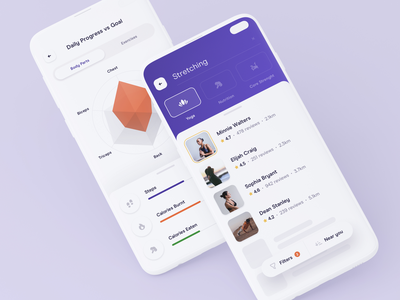 🏋🏻 Fitness App — Search & Daily Progress analytics workout statistics stats exercise training health gym fitness radar chart listing search ux ui widelab product mobile ios interface app