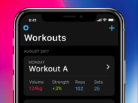 Strength tracking app overview