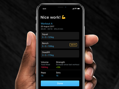 Strength app: Completed workout fitness strong workout tracking ios app strength