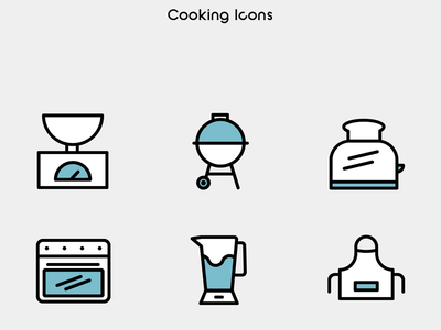 Cooking Icons vector illustration illustrator tools kitchen cook line art lineicons bicolor icon icons emilioriosdesigns