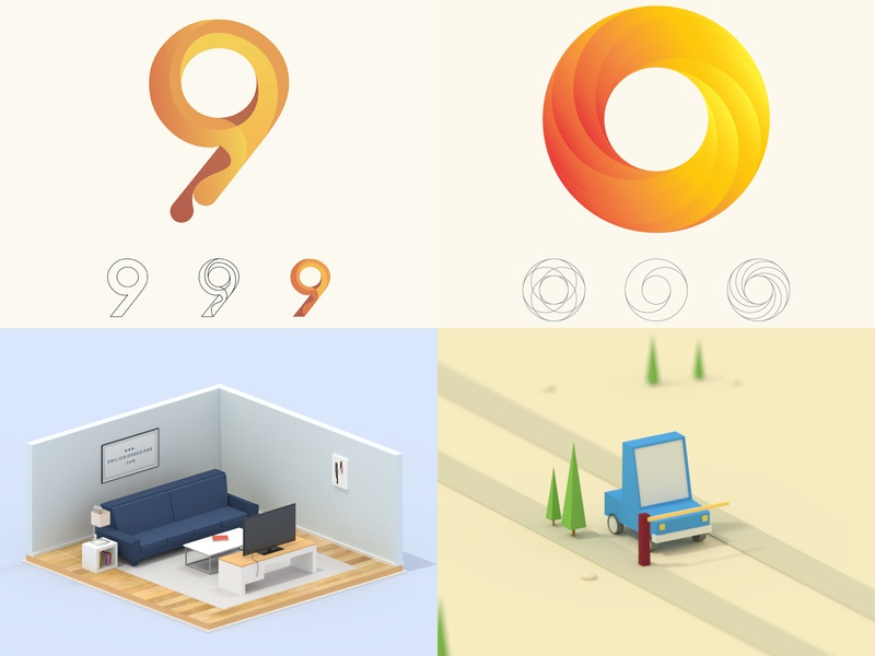 My top 4 liked posts of 2018 design illustration render graphicdesigner 3d render gif icon 3d blender emilioriosdesigns