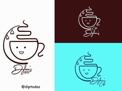 Dylan's coffee Logo colorful logo logo design coffee cup coffee coffee shop color character clean creative logotype vector concept dipto illustrator design graphic design daily dailylogochallenge branding