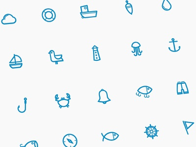 Free marine icon set  fish ocean boat sea marine sketch set minimal icon freebies freebie free