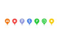 Parking map pins
