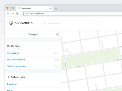 Web Editor website parking parking map design spotangels lenormand florent