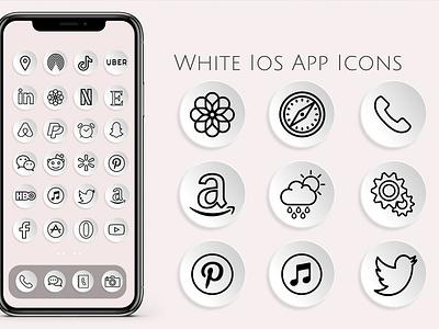 White iOS icons flat design logo icon app illustration ios app design white icons ios 14 app icons ios app ios icons
