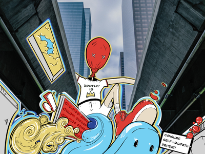 Consume, Self-Validate, Repeat. poster philosophy artwork existentialism graffiti digital illustration