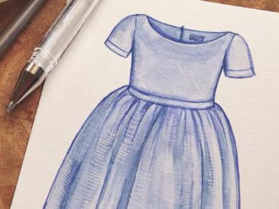 Periwinkle Dress watercolour watercolor blue dress illustration painting vintage