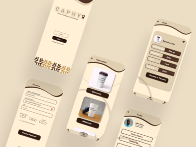 Caphy mobile app mobile ui concept coffeeshop