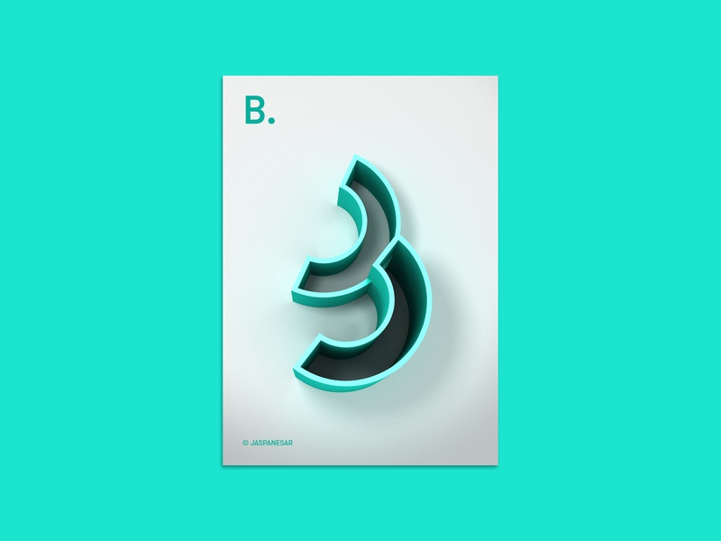 "Alphabet Poster ""B"" - 02/26 3d extrution photoshop shape type poster poster design 3d art"