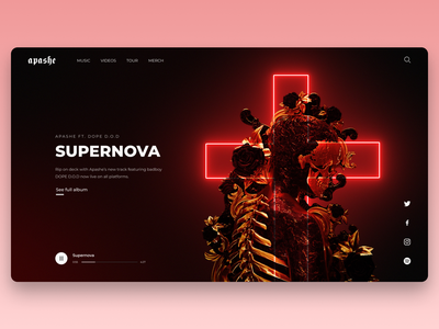 Music artist webpage concept music website spotify player dark theme ui neon apashe music website webdesign interface ux ui