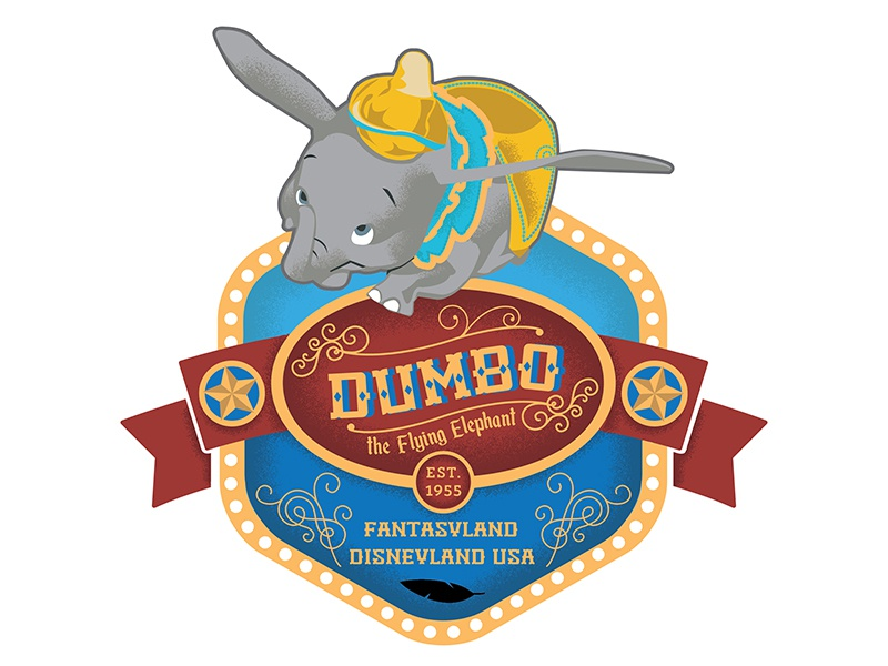 Dumbo Badge Dribbble icons badges disney disneyland dumbo illustration theme park