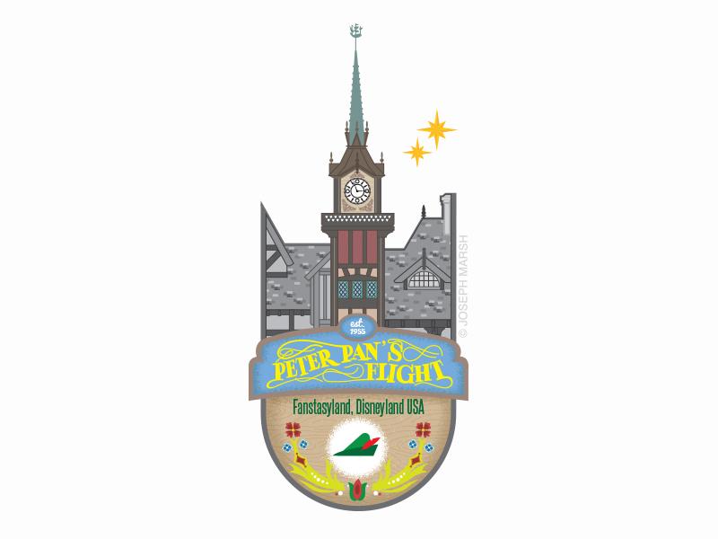 Peter Pan's Flight Dribbble badges icons disneyland disney illustration peter pan