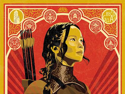 The Hunger Games shepard fairey design film the hunger games poster illustration