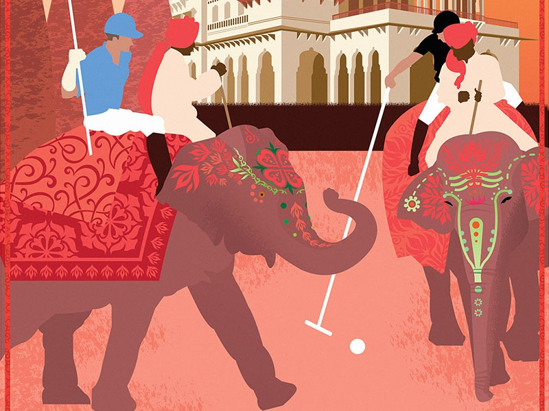Elephant Polo sports polo elephants india travel poster design