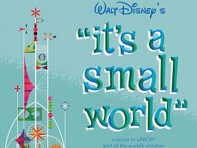 World's Fair It's A Small World Poster pepsi unicef its a small world typography illustration walt disney worlds fair