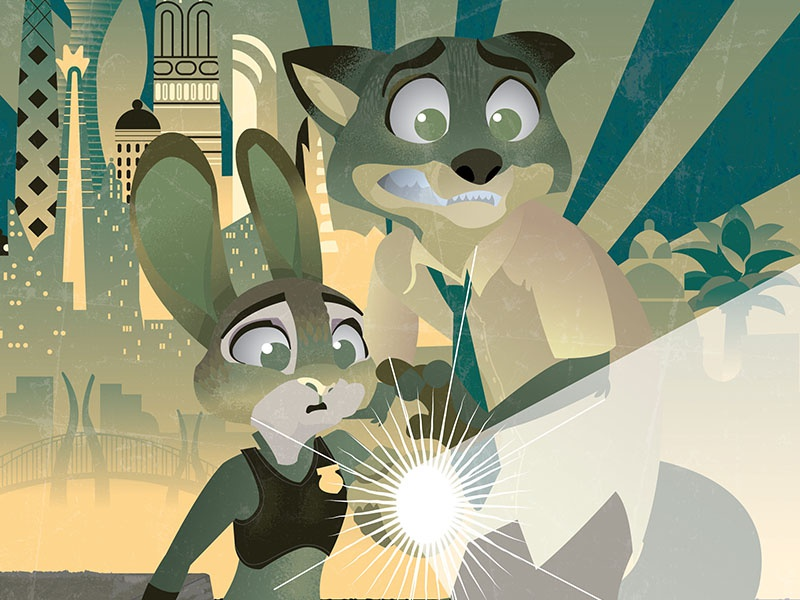 Zootopia Dribbble disney poster zootopia illustration
