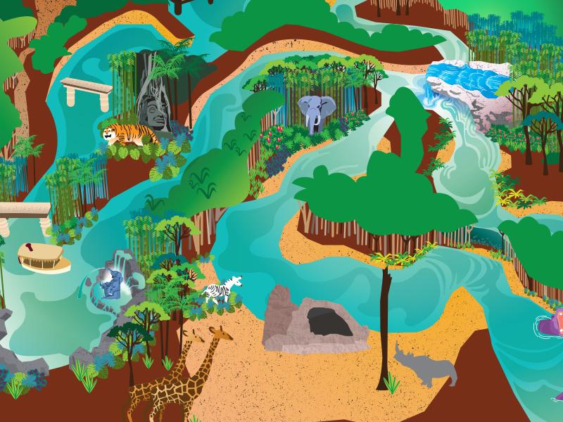 Adventureland Map Dribbble disneyland the jungle cruise map adventureland illustration