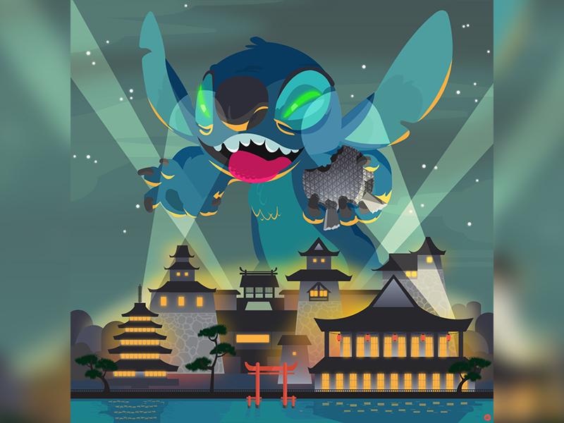 Stitch Dribbble walt disney world stitch japan epcot illustration