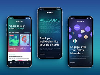 Mine'D. Mindful social application typography app ux ui design